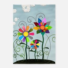 Whimsical Flowers 5'x7'Area Rug