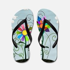 Whimsical Flowers Flip Flops