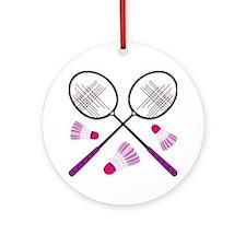 Badminton Rackets Ornament (Round)