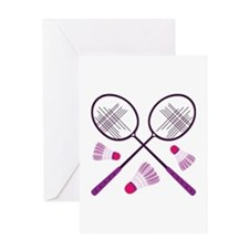 Badminton Rackets Greeting Cards