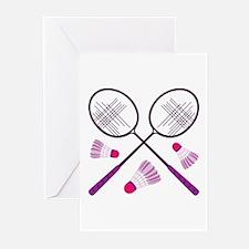 Badminton Rackets Greeting Cards
