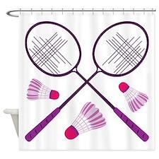 Badminton Rackets Shower Curtain