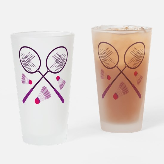 Badminton Rackets Drinking Glass