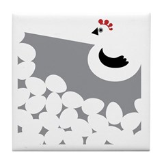 Black and White Chicken Tile Coaster