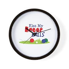 Kiss My BOCCE BALLS Wall Clock