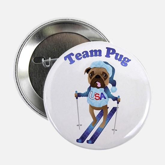 "Team Pug Skier - Olympugs 2.25"" Button"