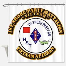 USMC - 1st Shore Party Battalion Shower Curtain