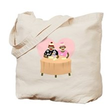 Sock Monkey Boy and Girl Love Tote Bag