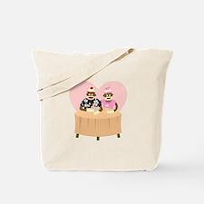 Sock Monkey Boy and Girl Love Tote Bag