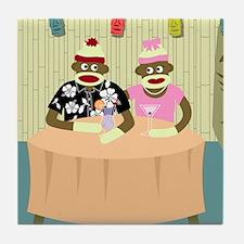 Sock Monkey Boy and Girl Love Tile Coaster
