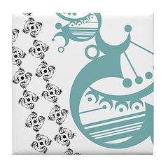 Aqua Crescent Tile Coaster