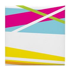 Bright Modern Stripe Tile Coaster
