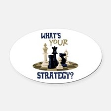 WHATS YOUR STRATEGY? Oval Car Magnet