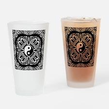 Yin and Yang on Intricate Pattern Drinking Glass