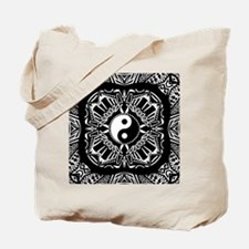 Yin and Yang on Intricate Pattern Tote Bag