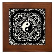 Yin and Yang on Intricate Pattern Framed Tile