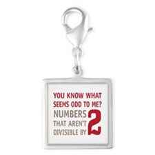 Odd Even Numbers Silver Square Charm