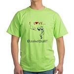 I Love Basketball Green T-Shirt