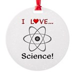 I Love Science Round Ornament