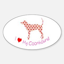 i heart my coonhound Oval Decal