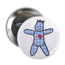 Blue Gingham Doll Button