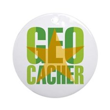 Star Geocacher Green Ornament (Round)