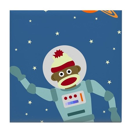 Sock Monkey Spacesuit Astronaut Tile Coaster