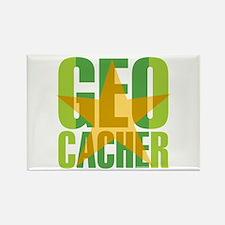 Star Geocacher Green Rectangle Magnet