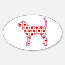 coonhound hearts Oval Decal