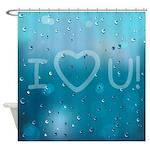 I Heart You Water Drops Shower Curtain