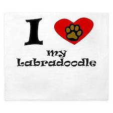 I Heart My Labradoodle King Duvet