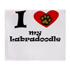 I Heart My Labradoodle Throw Blanket