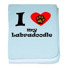 I Heart My Labradoodle baby blanket