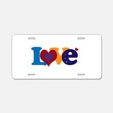 Cute LOVE with Hearts Aluminum License Plate