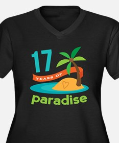 17th Anniversary Paradise Women's Plus Size V-Neck