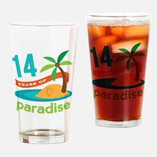 14th Anniversary Paradise Drinking Glass