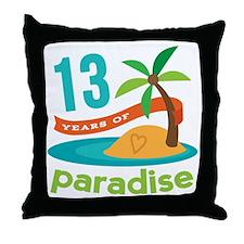 13th Anniversary Paradise Throw Pillow
