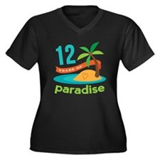 12th Anniversary Paradise Women's Plus Size V-Neck