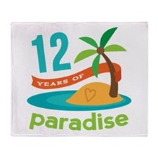 12th Anniversary Paradise Throw Blanket