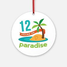 12th Anniversary Paradise Ornament (Round)
