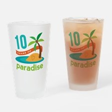 10th Anniversary Paradise Drinking Glass