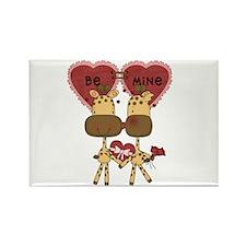Giraffes Be Mine Valentine Rectangle Magnet