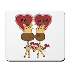Giraffes Be Mine Valentine Mousepad