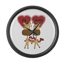 Giraffes Be Mine Valentine Large Wall Clock