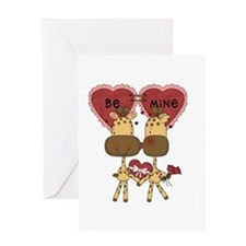 Giraffes Be Mine Valentine Greeting Card
