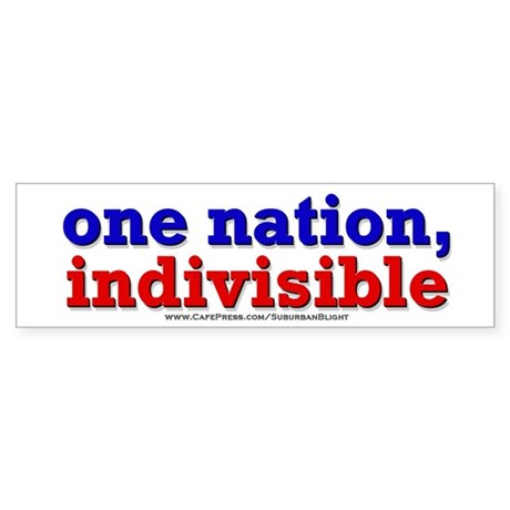 One Nation Indivisible 10x3 Bumper Sticker