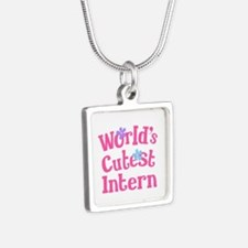 Worlds Cutest Intern Silver Square Necklace