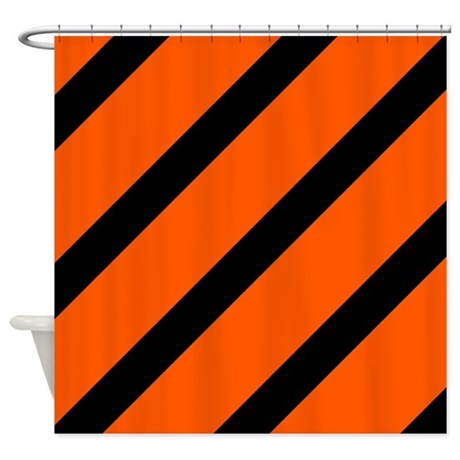 Black And Orange Stripes Shower Curtain By CoolCutePatterns