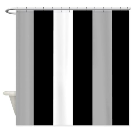 Grey Black And White Stripes Shower Curtain By