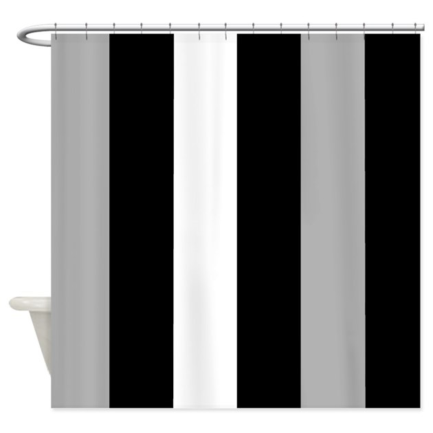 Grey Black And White Stripes Shower Curtain By CoolCutePatterns